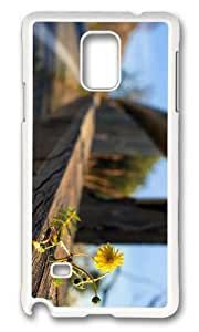 MOKSHOP Adorable flower on fence Hard Case Protective Shell Cell Phone Cover For Samsung Galaxy Note 4 - PC White