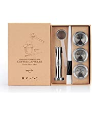 RECAPS Stainless Steel Refillable Filters Reusable Pods Compatible with Nespresso Original Line Machine But Not All (3 Pods+120 Lids+1 Tamper)