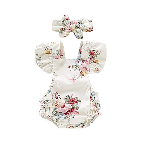 Toddler Rompers for Girls Short Sleeve Ruffles Baby Girl Romper with Headband Floral Tutu Romper Bodysuit Jumpsuit Summer Outfits Toddler Girl 12-18 Months ()