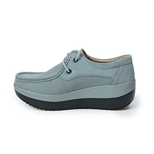 T-JULY Womens Casual Shoes - Comfy Platform Lace-up Thick Sole Round Toe Wedge Gray zrsrr