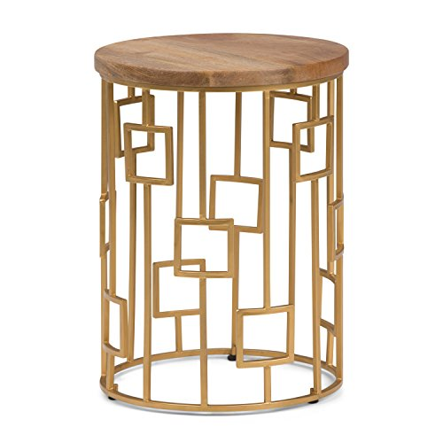 (Simpli Home AXCMTBL-15 Rhys  Round 16 inch wide Metal and Wood Accent Accent Side Table in Natural, Gold)