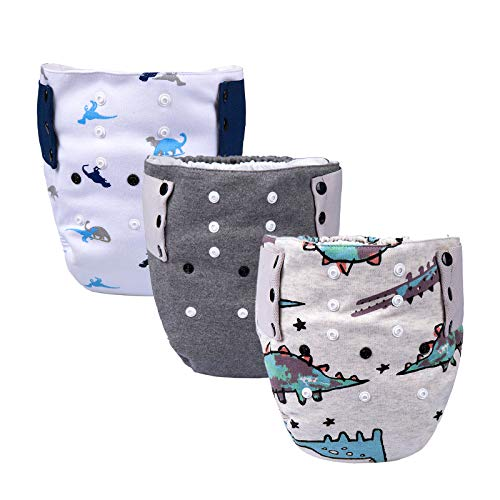 BIG ELEPHANT Baby Waterproof Cloth Diaper, Absorbent Insert Snaps Design 15-38 lb Fits 1-3T