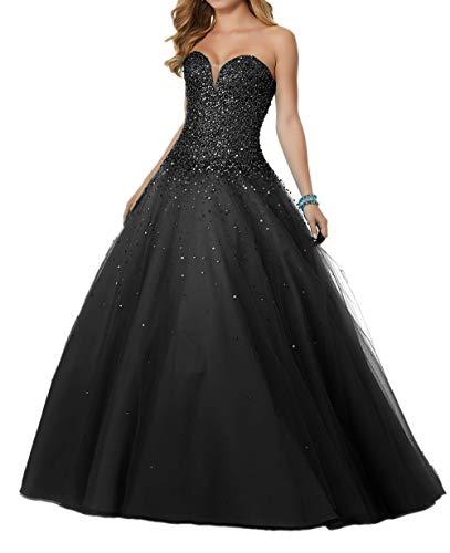 Schwarz Braut mia Pailletten Rock Festlichkleider Abendkleider Luxurioes A La Abschlussballkleider Herzausschnitt Partykleider Linie qZ7nR6w4wx