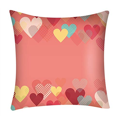 Littay Valentine's Day Print Pillow Case Polyester Sofa Car Cushion Cover Home Decor -
