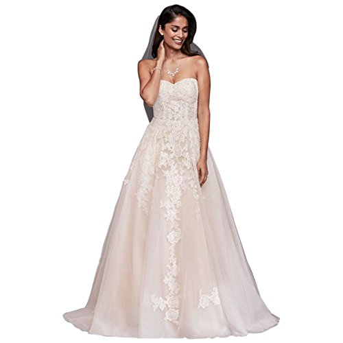David's Bridal Sheer Lace and Tulle Ball Gown Wedding Dress Style WG3861