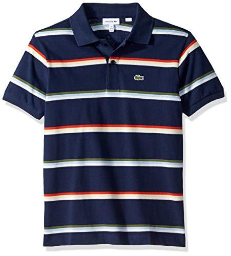 Lacoste Big BOY Summer Lover Striped Pique Polo, Navy Blue/Multi 16YR