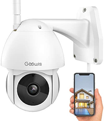 Security Camera Outdoor, Goowls 1080P HD WiFi Home Surveillance IP Camera with Pan Tilt 360 View Waterproof Night Vision 2-Way Audio Motion Detection Cloud Service