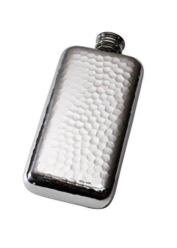Wentworth Pewter - Hammered Pewter Pocket Flask, Spirit Flask (Pewter Lid)