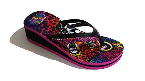 12ec4e5c1dd2c3 Galleon - Lisa Frank Girls Hunter Baby Cheetah Leopard Flip Flops With Elevated  Heel 1 M US Big Kid