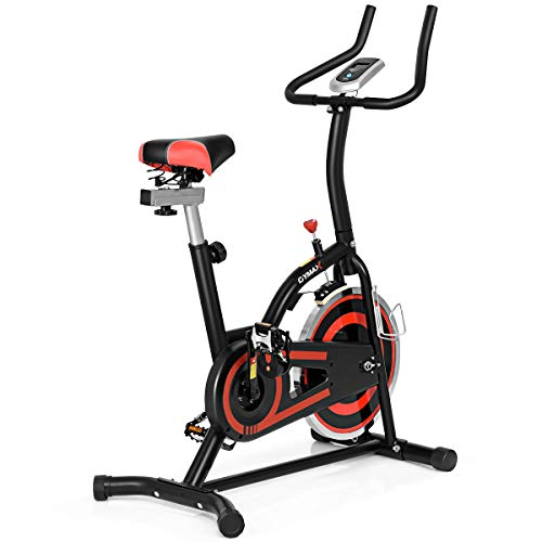 Goplus Exercise Bike Adjustable Stationary Bicycle Cardio Fitness Indoor Cycle Bike Trainer for Home Gym Cycling Workout w/LED Display