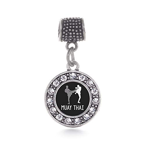 (Inspired Silver - Muay Thai Memory Charm for Women - Silver Circle Charm for Bracelet with Cubic Zirconia Jewelry)