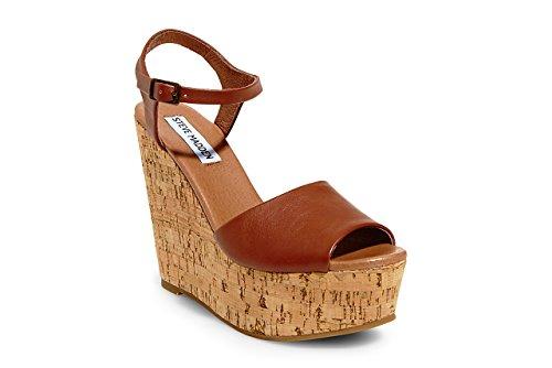 Steve Madden Women's Korkey Wedge Sandal, Cognac, 7 M US