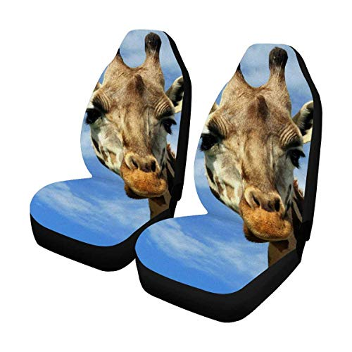 INTERESTPRINT Custom Blue Sky Giraffe Car Seat Covers for Front of 2,Vehicle Seat Protector Fit Most Car,Truck,SUV,Van