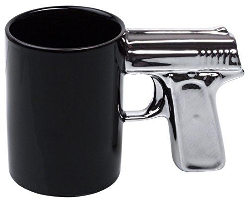 VENKON - Keramiktasse Becher mit einem Henkel in Pistole Design - ca. 300ml, schwarz