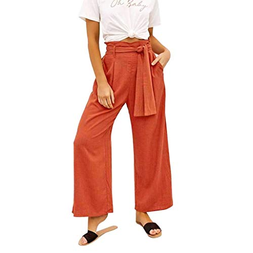 UOFOCO Casual High Waisted Wide Leg Pants Women Solid Belt Loose Yoga Long Trousers - Buckle Closure Belted Belt