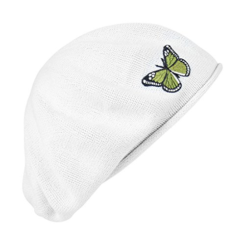 Green Butterfly on Beret for Women 100% Cotton - White