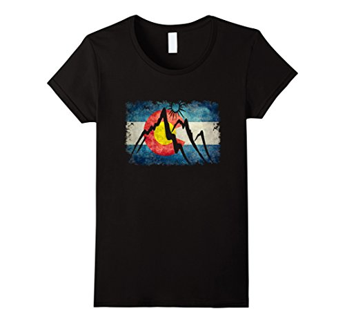 Womens Colorado Flag Moutain T Shirt   Colorado Day Shirts Large Black