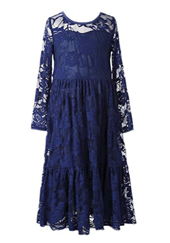 Horcute Openwork Floral Lace Crochet Long-Sleeve Ankle Length Flower Girl Dress Navy M(10--12)