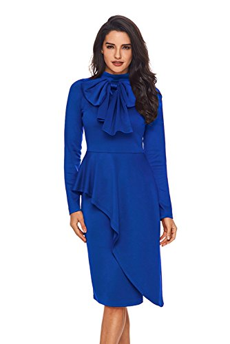 142f48a14f5 FUSENFENG Womens Plus Size 50s Vintage Long Sleeve Bowknot Cocktail Party  Evening Dress S-XXL