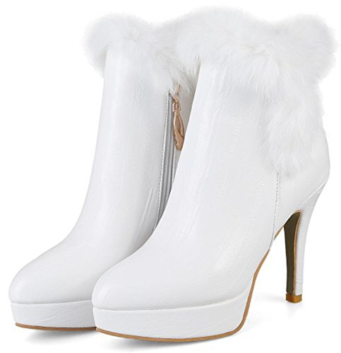 Mofri Fur White Sexy Toe High Women's Pointed Faux Platform Boots Side Zipper Booties Ankle Fluffy Short Stiletto Heel Snow gqrgwIA