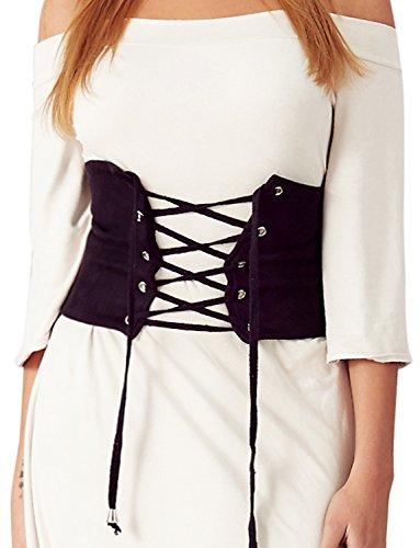 VWIWV Women Waist Belt Decorate Lace Up Women Suede (US6, BLACK) by VWIWV