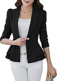 GRASWE Women's Casual Long Sleeve Blazer Jacket Cardigan Plus Size Work Bl