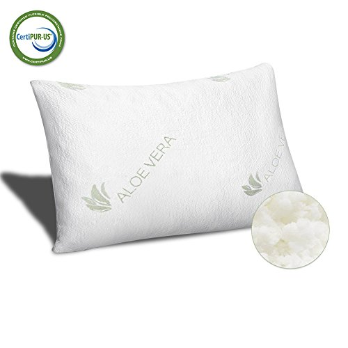 Meeracula Pillows for Sleeping, Shredded Memory Foam Pillow for Neck Pain Relief Cooling, Aloe Vera and Bamboo infused Zippered Washable Cover, King/Queen Aloe Vera Pillow