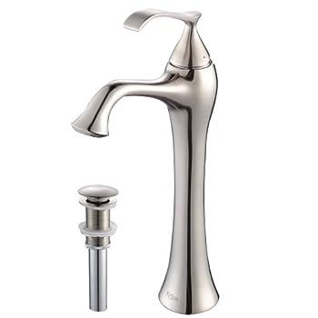 Kraus KEF-15000-PU15BN Ventus Single Lever Vessel Bathroom Faucet with Pop Up Drain Brushed Nickel