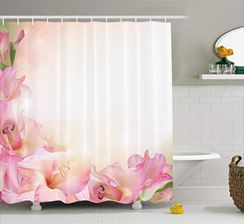 Ambesonne Pink and White Shower Curtain, Orchid Blossoms Corner Ornament on a Dreamy Backdrop Floral Fantasy, Cloth Fabric Bathroom Decor Set with Hooks, 70 inches, Peach Green