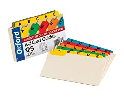 Oxford Index Card Guides with Laminated Tabs, Alphabetical, A-Z, Assorted Colors, 3\