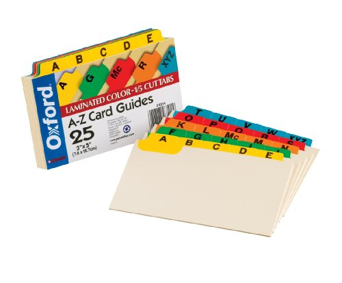 Laminated Index Card Guides - 2