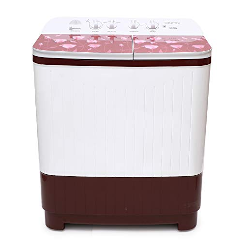 SINFIN 8 KG Semi Automatic Top Load Washing Machine  Fully ABS Body  White  Maroon