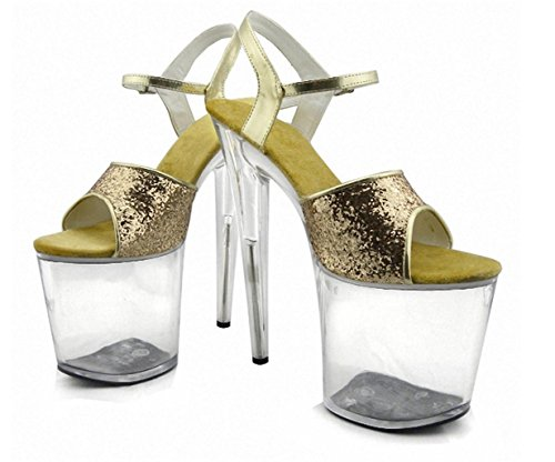 MNII Nightclub Women's Performance Props The Stage Heels/Fashion Simple Sandals/Party/Wedding Dress and high Heels Rose Gold- Shape Fashion 41 3SCYKkOf1
