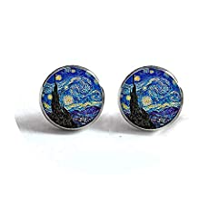 color:Silver and Bronze is_customized:No Gender Style:Art photo cabochon Metals Type Material:Iron Item Type Item:Van Gogh Painting Stud Earrings Earring Type