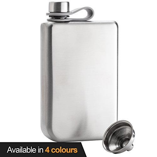 Stainless Steel Classic Hip Flask (8oz Hip Flask & Funnel Set Stainless Steel Pocket Container for Drinking Liquor e.g. Whiskey, Rum, Scotch, Vodka | Rust & Leak Proof Discreet Alcohol Canteen, can be Engraved)