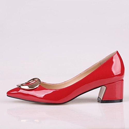 Kolnoo Damen 50mm Blockabsatz pumps Spitze Metallischen Glanz Lackleder Geschlossen Kleidschuhe Rot