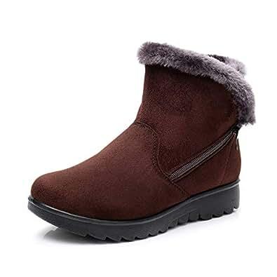 Botas de Nieve Mujer Invierno Fur Botines Planos Calientes Tobillo Cremallera Zapatos Casual Impermeable Zapatillas Negro Rojo Marrón 35-41 BR35