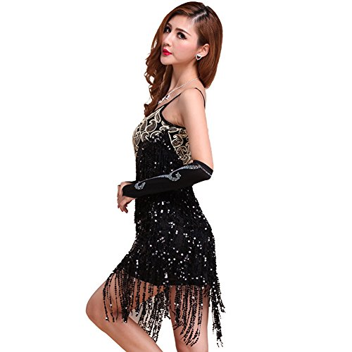 Fenta Party Club Latin Dance Dress Sequins Fringe Dress Dancewear (Flamenco Dance Costumes For Girls)