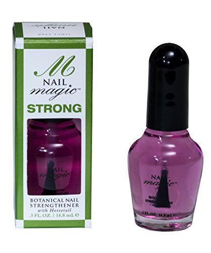 Nail Magic Fingernail Strengthener 0.5 fl oz, Strengthen Brittle Nails with this Silica Rich Horsetail herb Botanical Nail Strengthener, Toluene Formaldehyde and DBP Free - Trusted since 1960