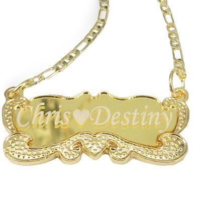 18k Gold Plate Personalized Name Necklace ,Custom Made Any - Plate 18k Gold