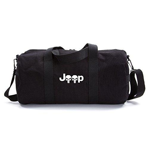 Tactical Overlord Jeep Wrangler Punisher Canvas Shoulder Duffel Bag Black Large