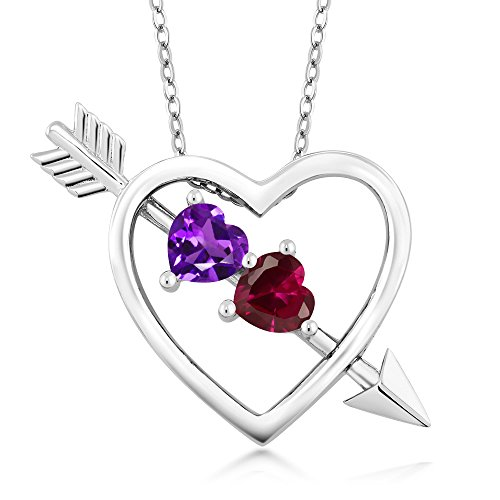 Sterling Silver Ruby Pendant - 1.00 Ct Amethyst Red Created Ruby 925 Sterling Silver Heart & Arrow Pendant
