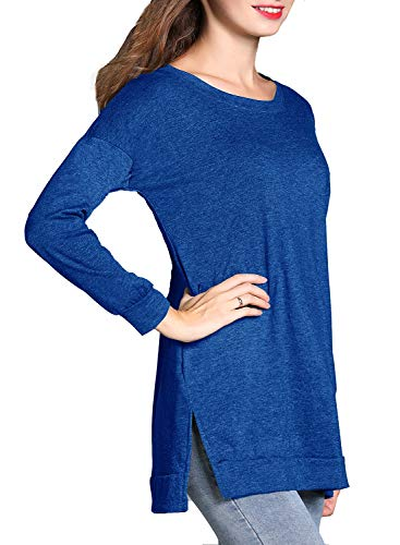 RJXDLT Women's Casual Tunics Short/Long Sleeve Round Neck Tunic Tops Sweatshirt Loose Pullover Shirts Blue L 209
