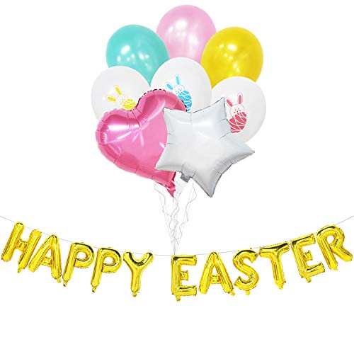 Happy Easter Banner - Happy Easter Balloons with Bunny Balloons Latex - Easter Party Decorations