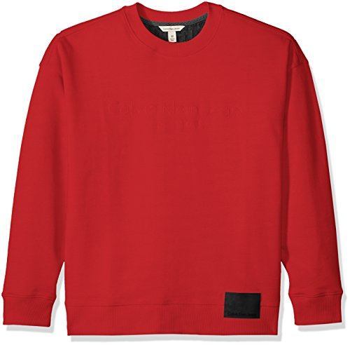 Mens Crew Red Logo Sweatshirt (Calvin Klein Jeans Men's Long Sleeve Oversized Crew Sweatshirt With Logo and Patch, Tango Red, X-Small)