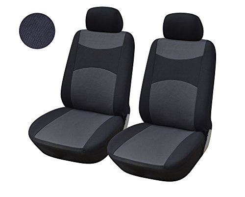 OPT. Brand. Black and Gray Two-Tone Color Fabric Cloth 2 Front Car Seat Covers Compatible to Nissan Altima Leaf Murano Note Rogue Sentra Versa (Two Tone Leaves)