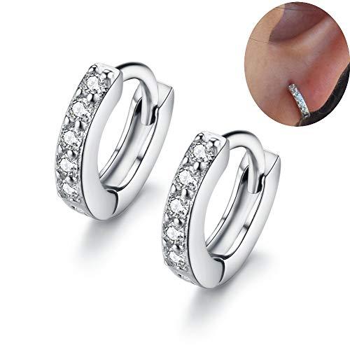 Cubic Zirconia Small Hoop Earrings Ear Cuff for Cartilage Pierced Women Teen Girls Huggie Tiny Hoops ()