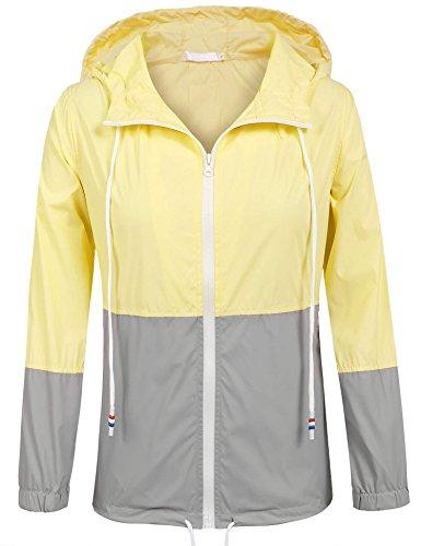 para Hufcor Amarillo Impermeable Mujer M Abrigo EvwqvZ