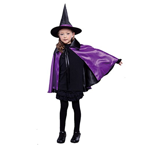 [Acecharming Kids' Witch Cape with Hat Double Side Vampire Cloak for Halloween (Length 70cm, Purple)] (Halloween Witch Costumes Kids)