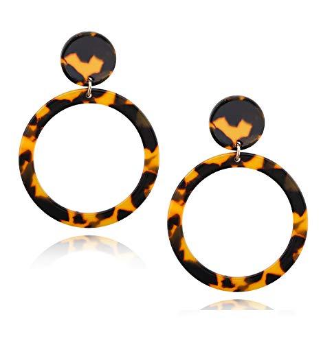 Acrylic Earrings For Women Girls Statement Geometric Earrings Resin Acetate Drop Dangle Earrings Mottled Hoop Earrings Fashion Jewelry (Tortoiseshell-round dangle)